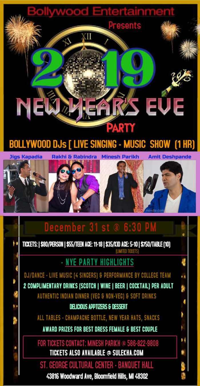 Bollywood Entertainment 2019 New Year's Eve Party
