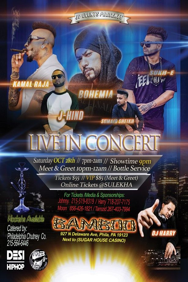 JP Events Presents Live concert with Kamal Raja, J- Hind, Bohemia, Sumair sheikh