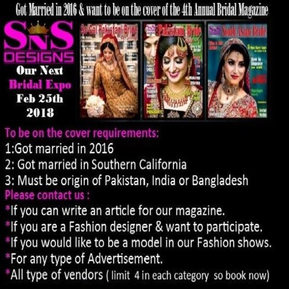 End Date :2/25/2018. Venue: DoubleTree by Hilton Host :SnsDesigns. City  :Norwalk Details: South Asian Bridal Expo