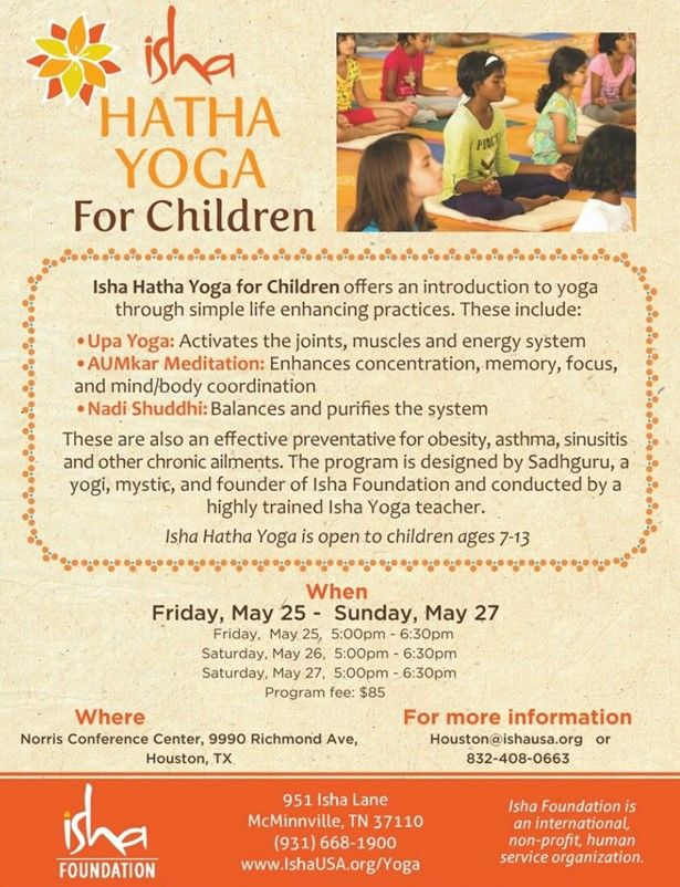 Isha Hatha Yoga For Children in Houston