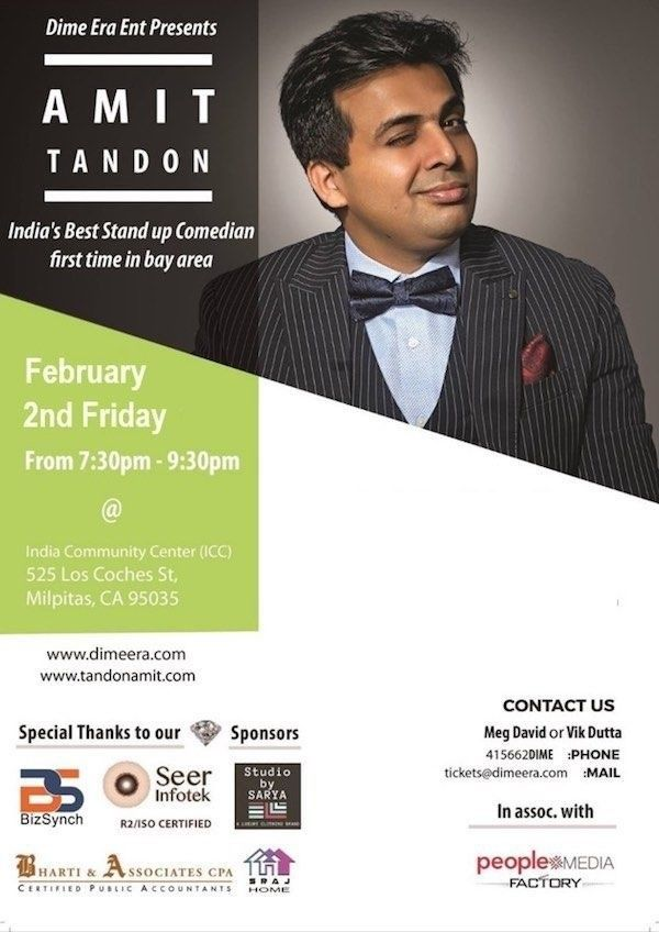 amit tandon live stand up in bay area in india community center icc