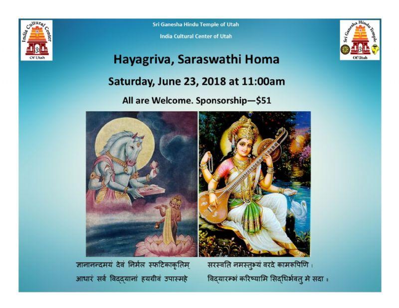 Saraswathi, Hayagriva Homa