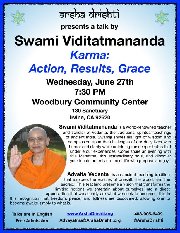 Karma: Action, Results & Grace - An Evening with Swami Viditatmananda