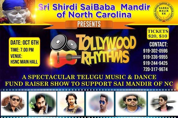 Tollywood Rhythms - Fund Raiser for Sri Shirdi Sai Mandir of NC