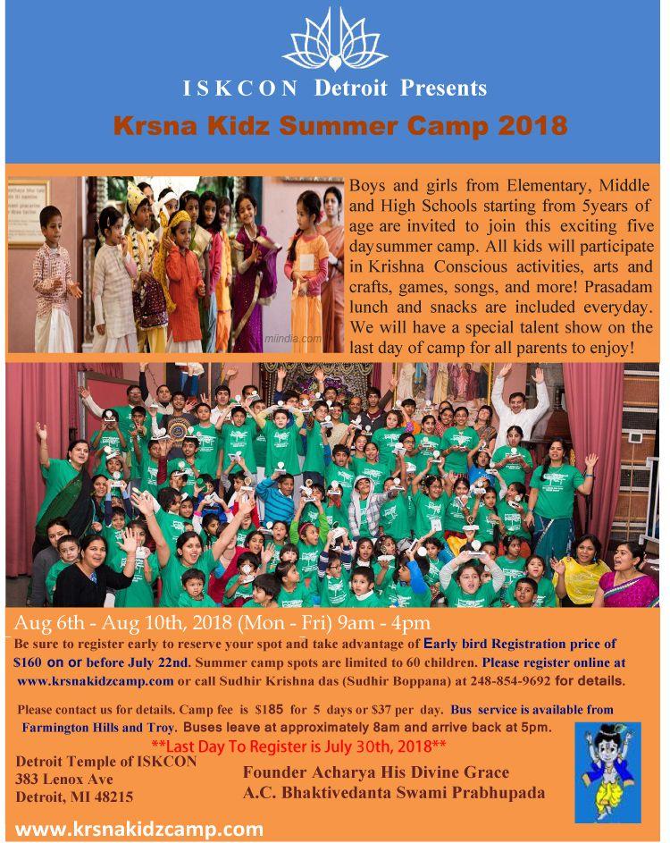 ISKCON Detroit - Krsna Kidz Summer Camp 2018