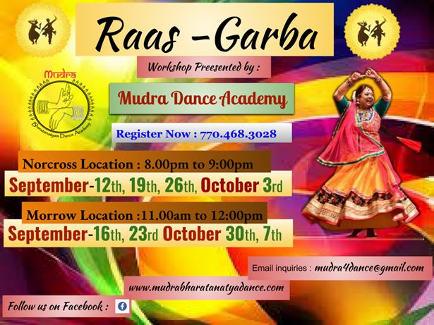 Raas - Garba Workshop - Sep 16th,Sep 23rd,Oct 30th & Oct 7th
