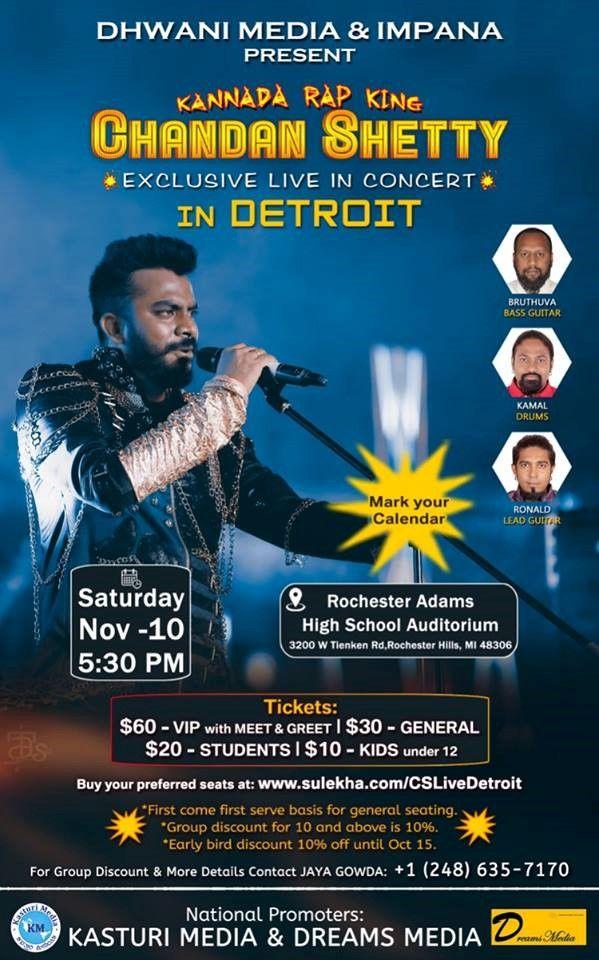 Chandan Shetty Live in concert Detroit