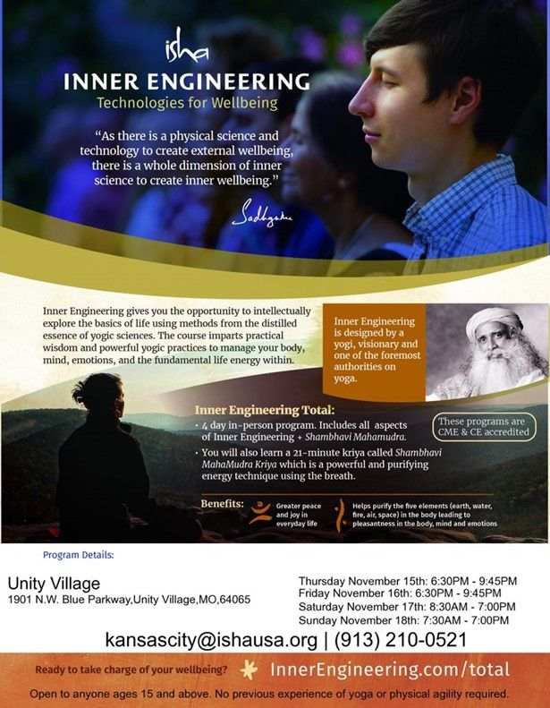 Yoga & Meditation - Inner Engineering Total program at Unity Village