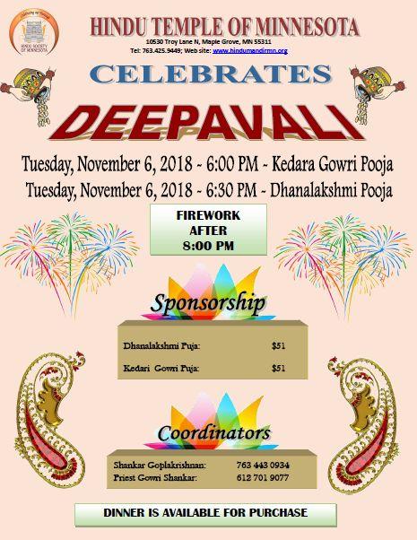 Deepavali Celebration in Hindu Temple of Minnesota Maple Grove