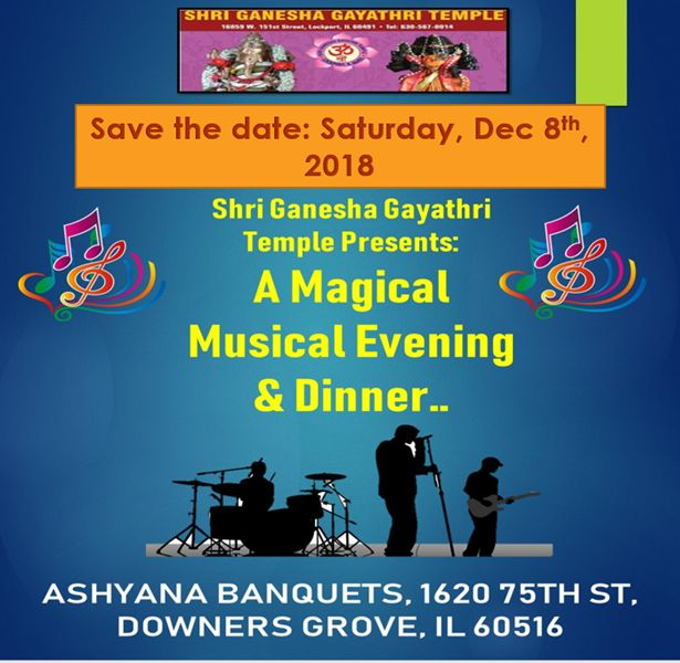 A magical musical evening with dinner- Fundraising event for Ganesh Gayathri Tem