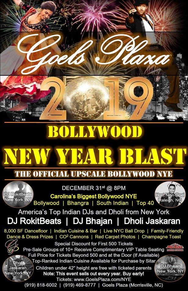 Carolina's official Bollywood NYE Goels Plaza