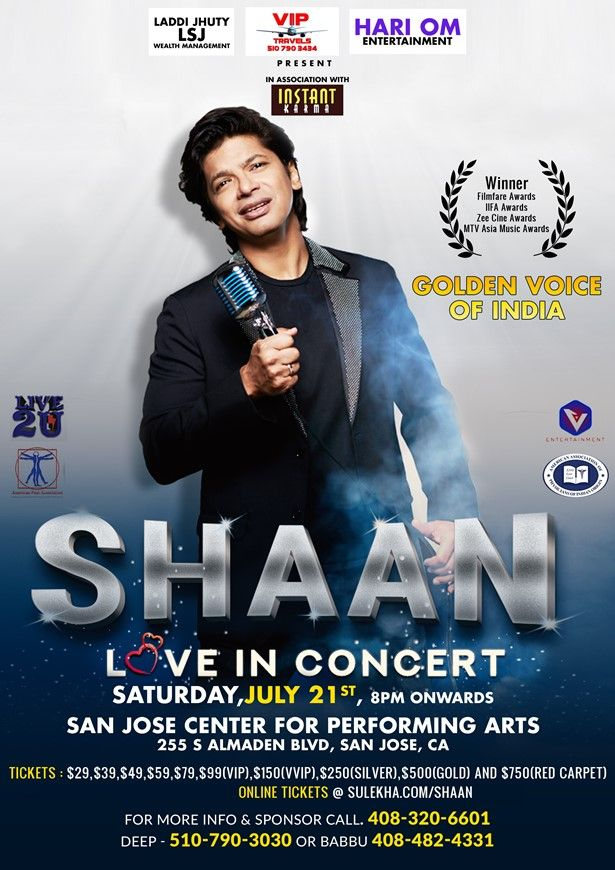 Shaan Live In Concert - Bay Area