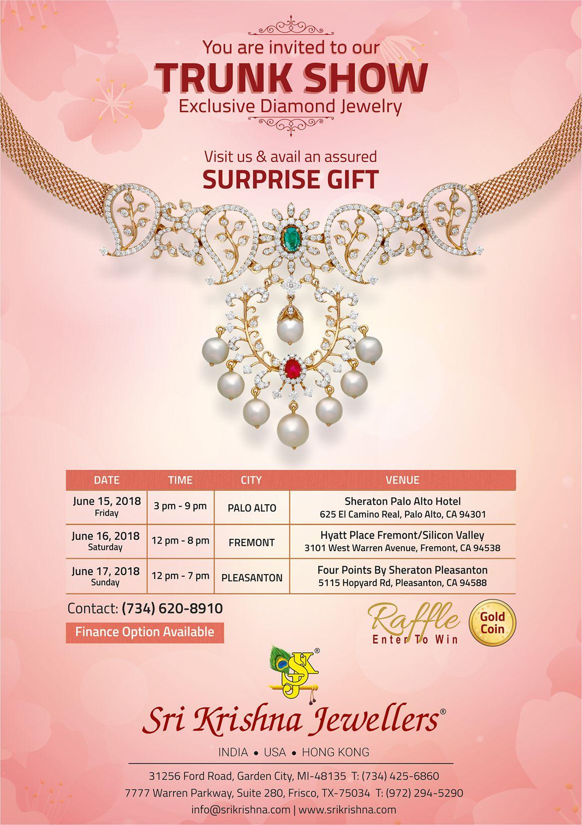 Sri Krishna Jewellers - Trunk Show in California: Exclusive Diamond Jewelry