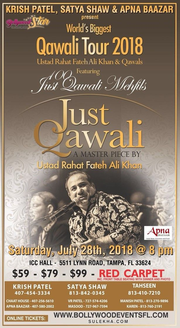 Rahat Fateh Ali Khan Live Concert in Tampa
