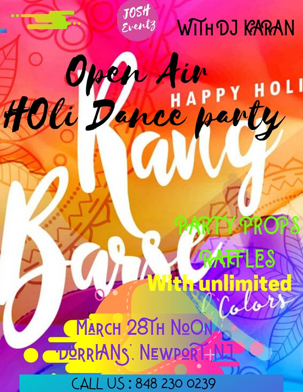 Open Air Holi Dance Party with unlimited colors With DJ Karan