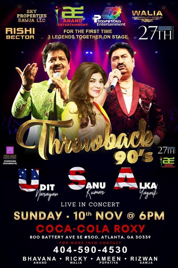 Throwback 90's With Udit Narayan,Alka Yagnik and Kumar Sanu Live In Atlanta