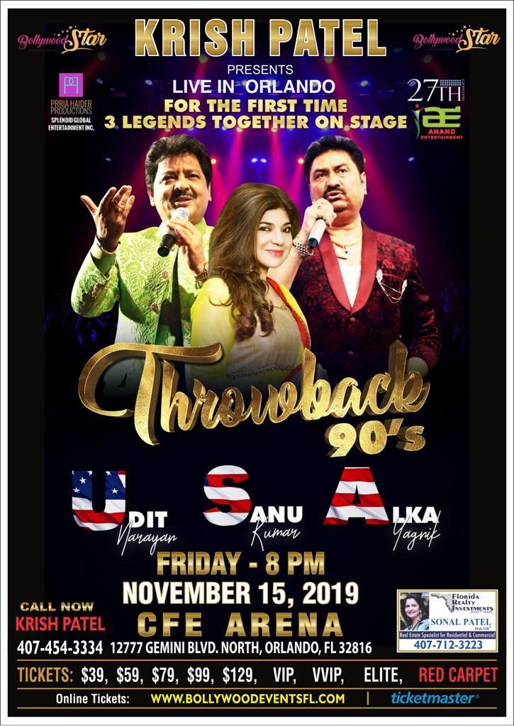 Throwback 90's With Udit Narayan,Alka Yagnik and Kumar Sanu Live In Orlando