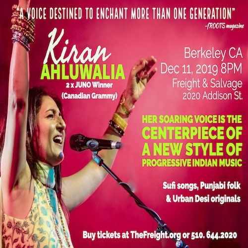 Indian Concert - Two time Canadian Grammy winner Kiran Ahluwalia