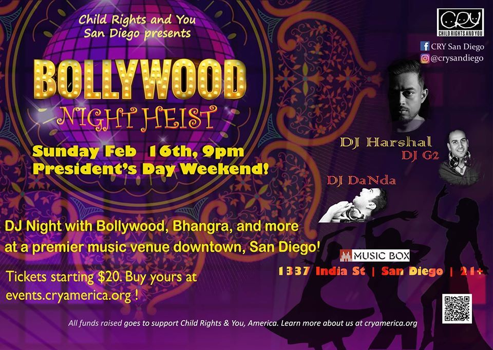 CRY San Diego Bollywood DJ Night Heist