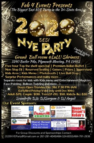 2020 Desi New Years Eve Party Philadelphia
