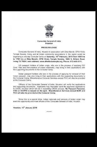 Consulate General of lndia, Houston One Day Consular Camp