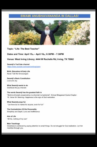 Life: The Best Teacher by Swami Anubhavananda