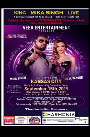 Mika Singh Live with Iulia Vantur - A Bollywood Concert in Kansas City