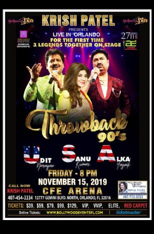 Throwback 90's With Udit Narayan,Alka Yagnik and Kumar Sanu Live In Orlando
